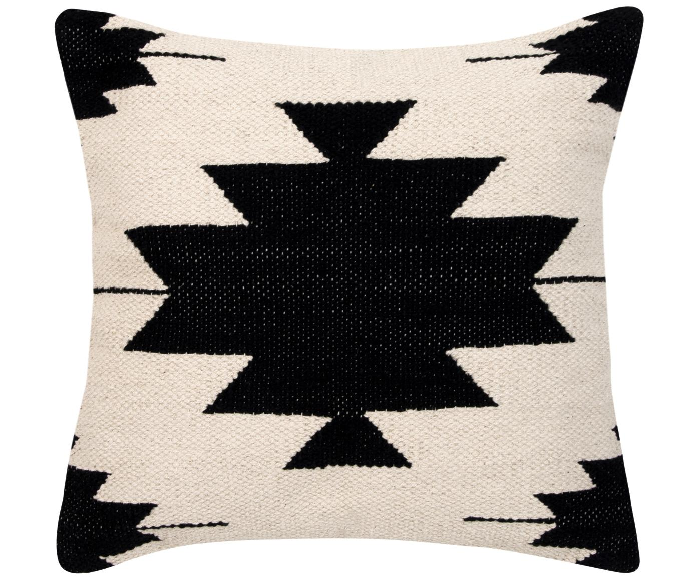 Kussenhoes Cancun, 100% katoen, Zwart, beige, 45 x 45 cm