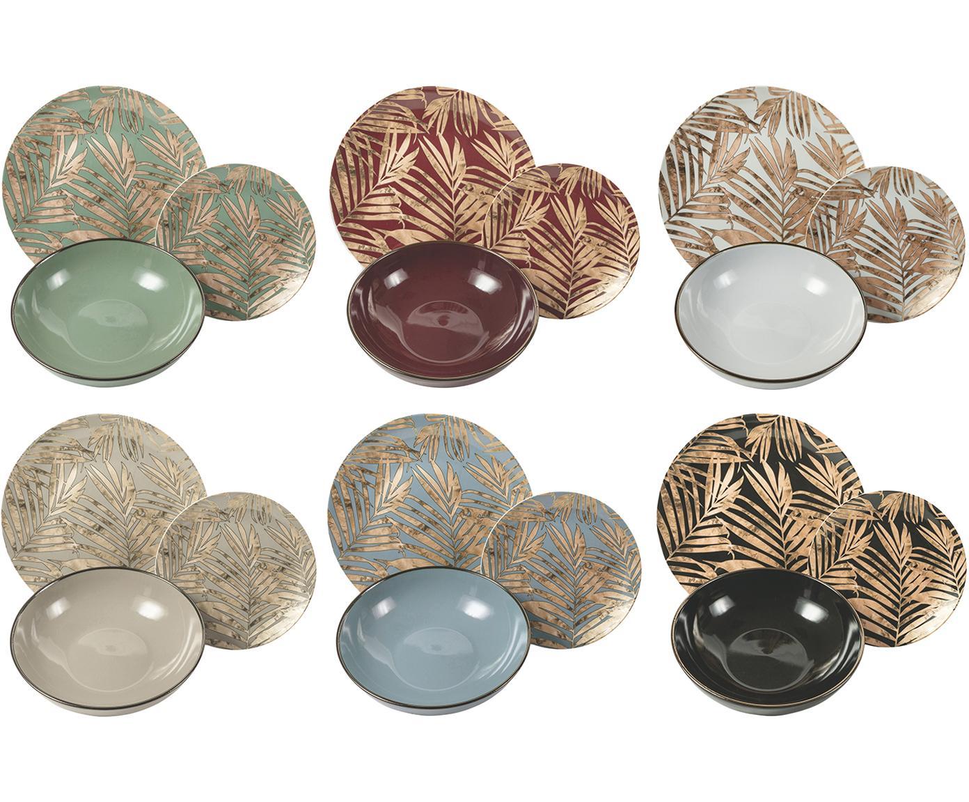Vajilla Forest Chic, 6comensales (18pzas.), Porcelana, Multicolor, Tamaños diferentes