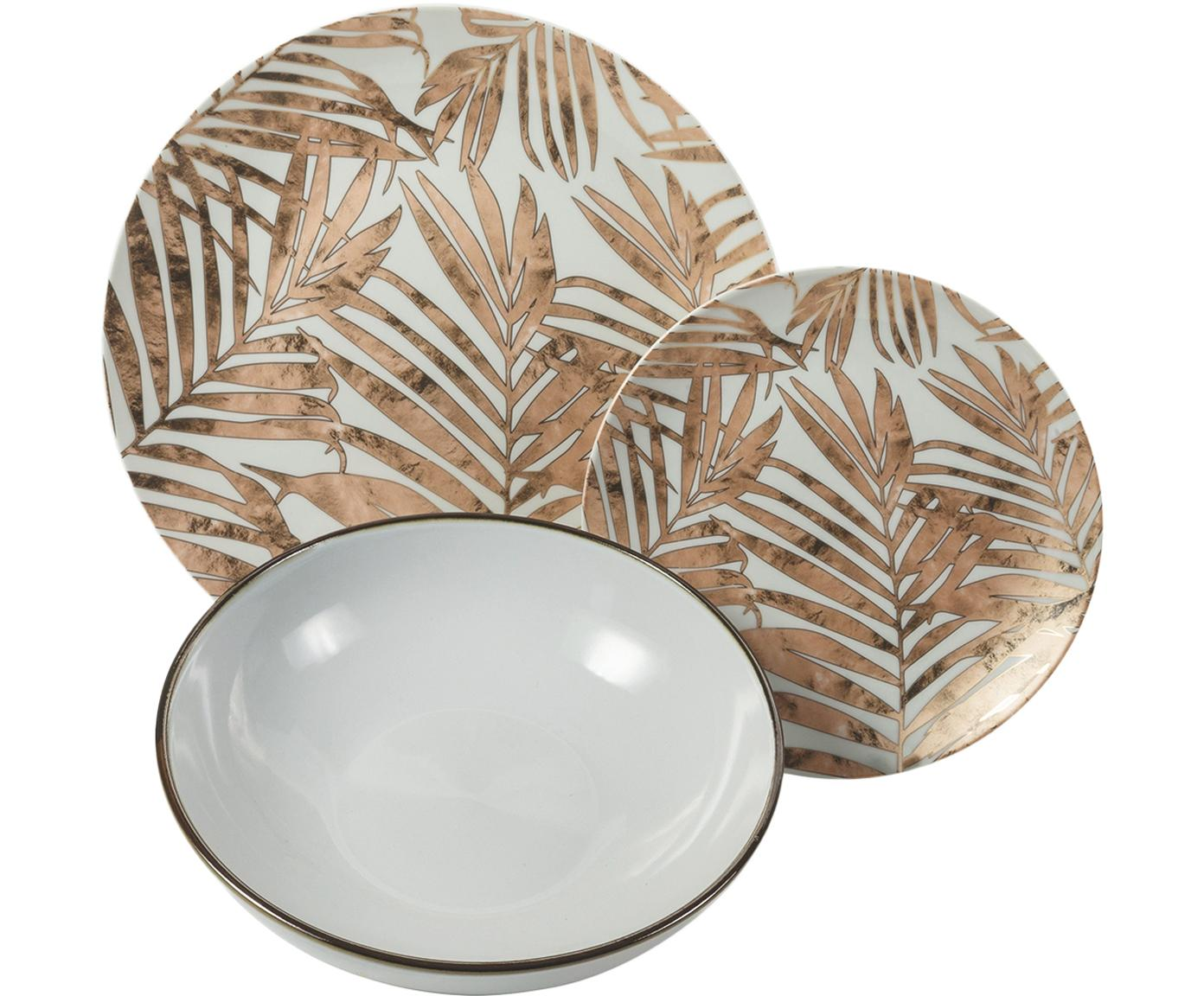 Service de table glamour porcelaine et grès Forest Chic, 6 personnes (18élém.), Multicolore