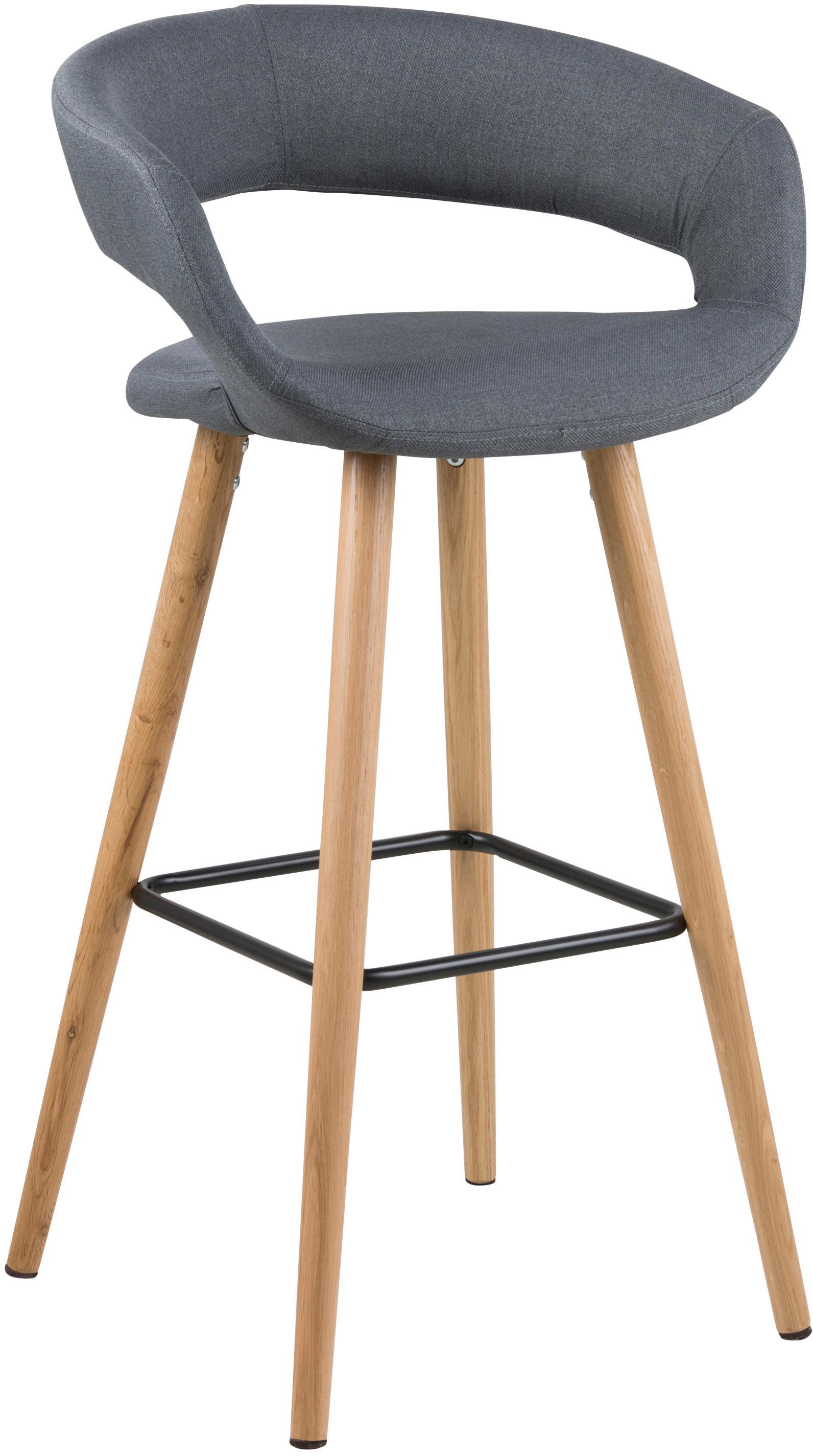 Sedie da bar Grace, 2 pz., Rivestimento: 100% poliestere, Gambe: legno di quercia, Rivestimento: grigio scuro<br>Gambe: legno di quercia<br>Poggiapiedi: nero, L 56 x A 97 cm