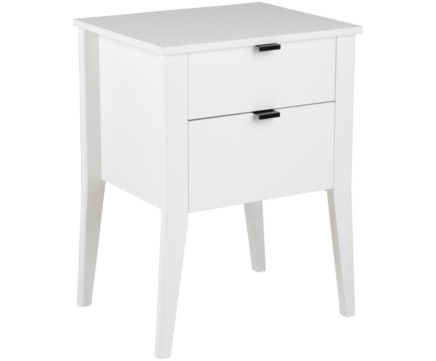Weißer Nachttisch Sleepy mit Schubladen, Korpus: Mitteldichte Faserplatte , Griffe: Metall, pulverbeschichtet, Weiß, 48 x 65 cm
