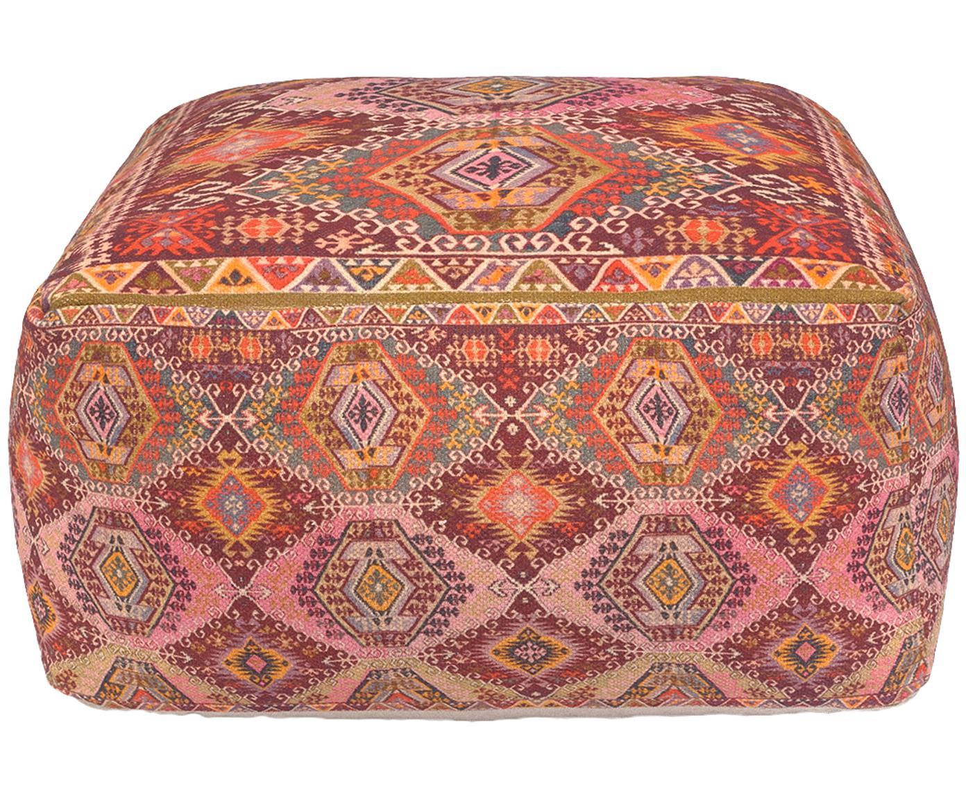 Pouf Tarso im Ethno Style, Bezug: Baumwolle Füllung, Rot, Rosa, Orange, Beige, 60 x 30 cm