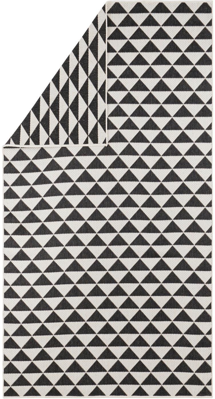 Gemusterter In- & Outdoor-Teppich Tahiti in Schwarz/Creme, 100% Polypropylen, Schwarz, Cremefarben, B 80 x L 150 cm (Größe XS)