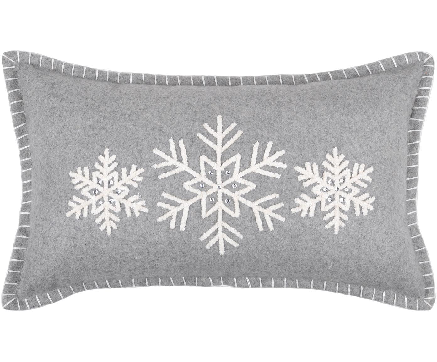 Kissen Vaujany mit Schneeflockenmotiv, mit Inlett, Bezug: 50% Baumwolle, 32% Wolle,, Grau, 30 x 50 cm