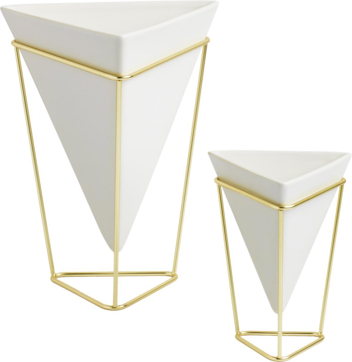 Vazenset Trigg Desk, 2-delig, Vazenhouders: vermessingd metaal, Vazen: wit. Vazenhouders: messingkleurig, 16 x 20 cm