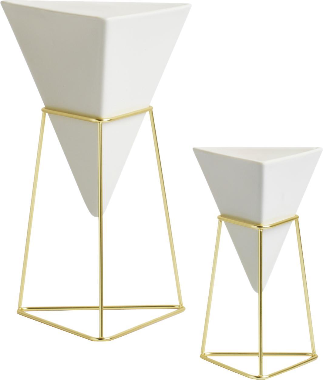 Set de jarrones Trigg Desk, 2pzas., Estructura: metal, latón chapado, Blanco, latón, An 16 x Al 20 cm