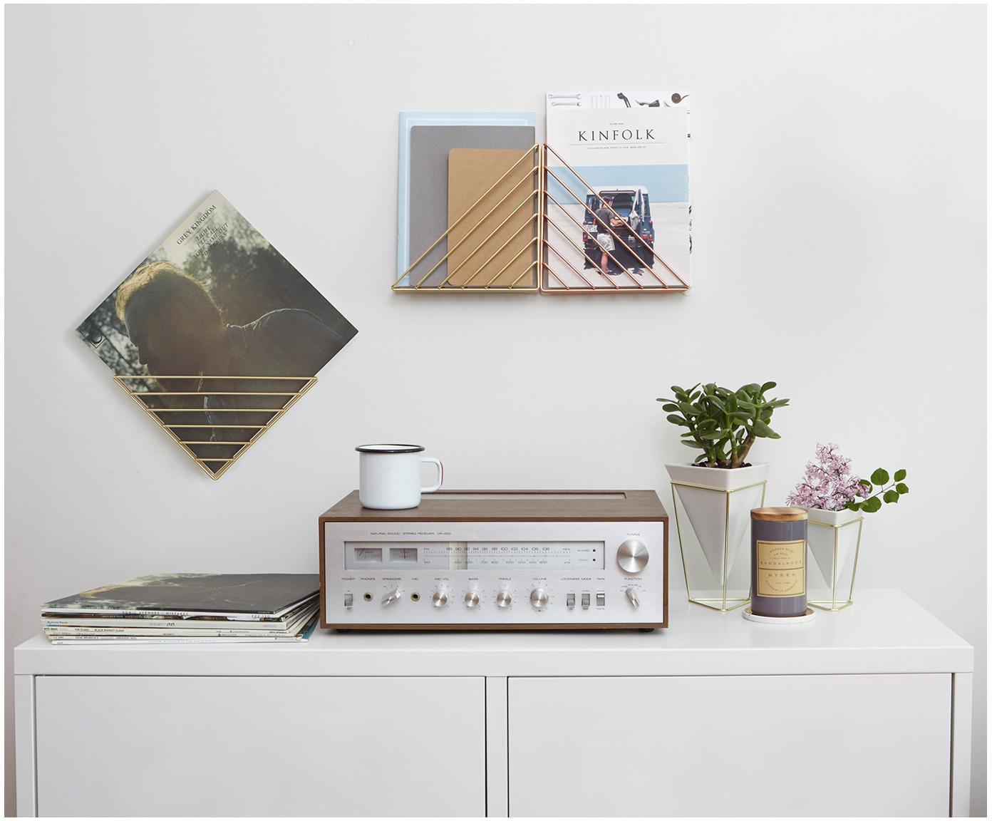 Komplet doniczek Trigg Desk, 2 elem., Wazon: biały Podstawa: mosiądz, S 16 x W 20 cm