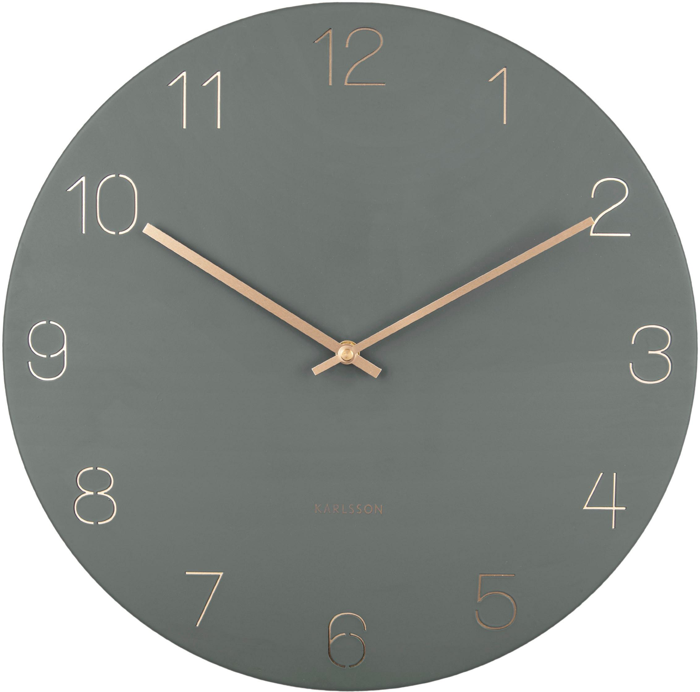Orologio da parete Charm, Metallo rivestito, Verde, ottone, Ø 40 cm