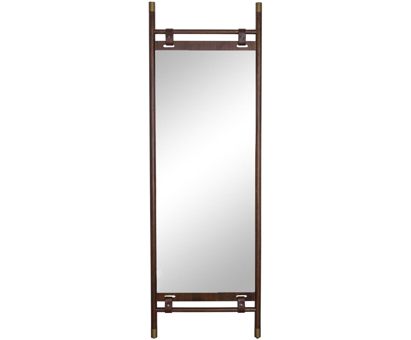 Donkerbruine leunende spiegel Riva met leren banden, Lijst: beukenhout, Lijst: donkerbruin. Spiegelvlak: spiegelglas, 60 x 180 cm