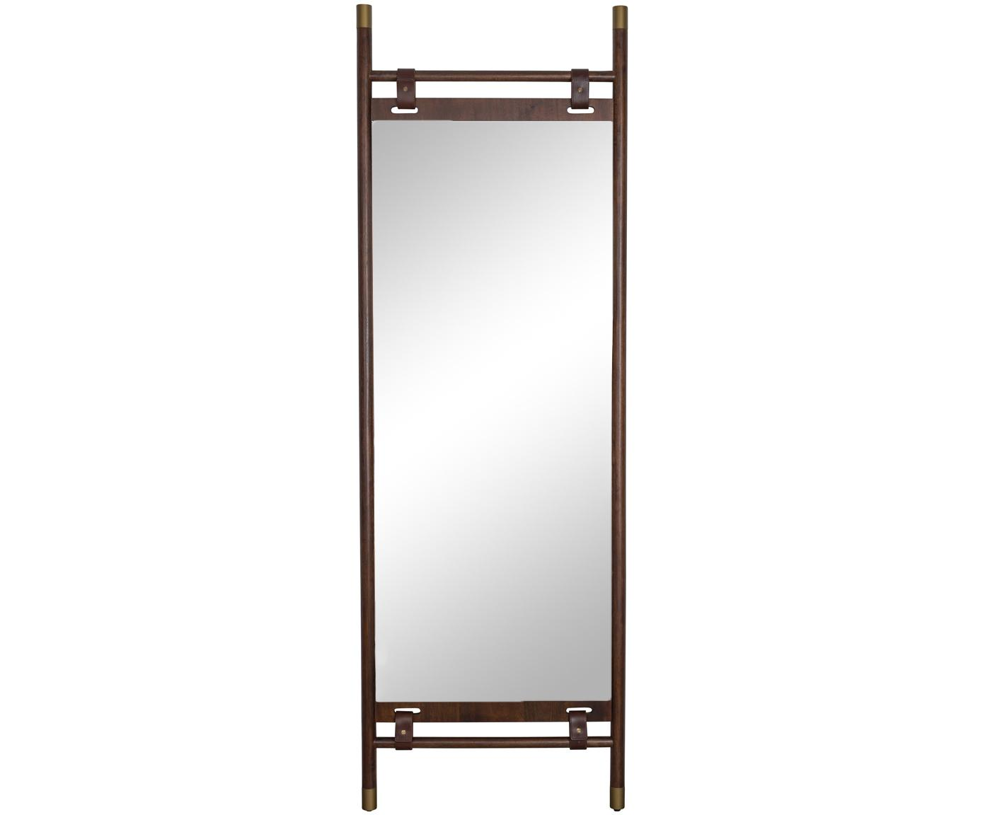 Specchio da terra con cinturini in pelle Riva, Struttura: legno di faggio, Superficie dello specchio: lastra di vetro Fascia in, Cornice: marrone scuro Superficie dello specchio: lastra di vetro, Larg. 60 x Alt. 180 cm