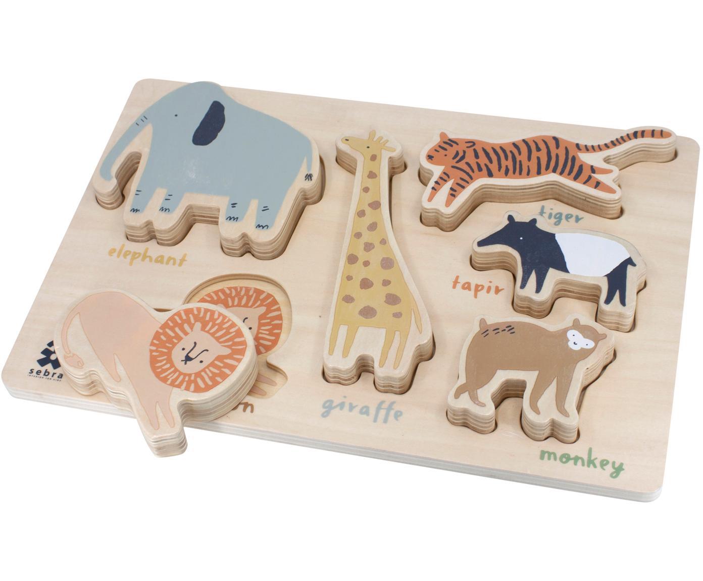 Puzzle de madera Wildlife, Madera contrachapada, recubierta, Multicolor, An 23 x Al 1 cm