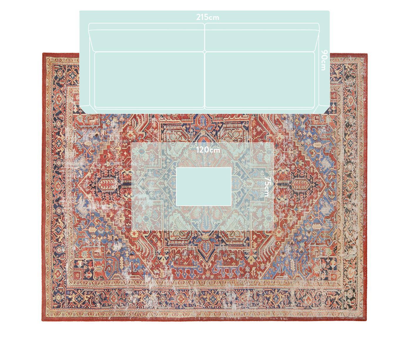 Chenilleteppich Paulo im Vintage Style, Vorderseite: Chenillegarn (Polyester), Rückseite: 75%Polybaumwolle, 25%Po, Rot, Blau, Beige, B 240 x L 290 cm (Grösse L)
