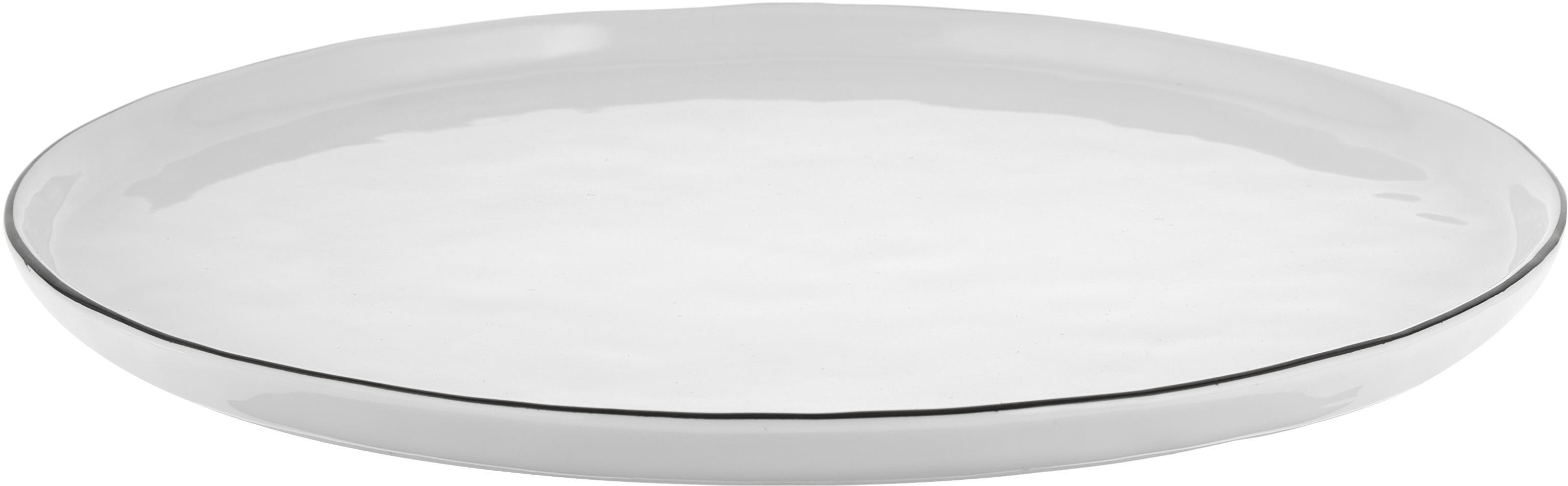 Handgemaakte dinerborden Salt, 4 stuks, Porselein, Gebroken wit, zwart, Ø 28 cm