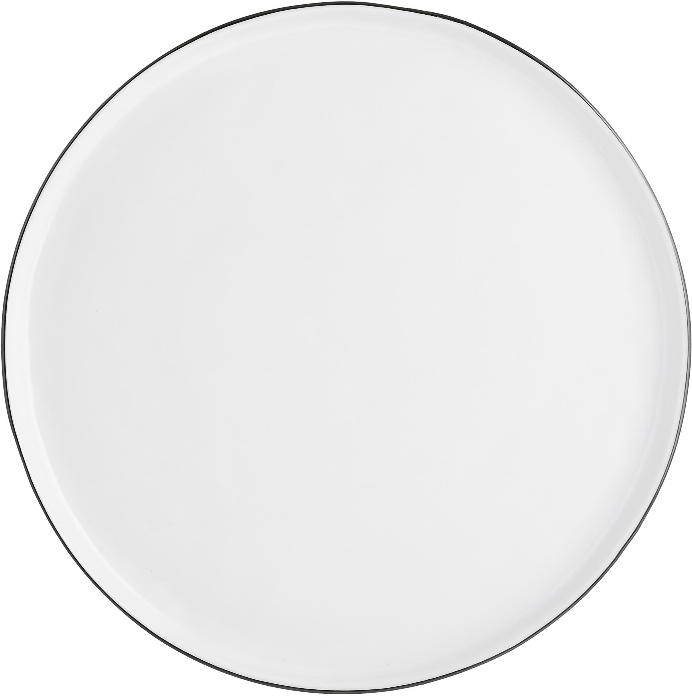 Handgemachte Speiseteller Salt mit schwarzem Rand, 4 Stück, Porzellan, Gebrochenes Weiß, Schwarz, Ø 28 cm