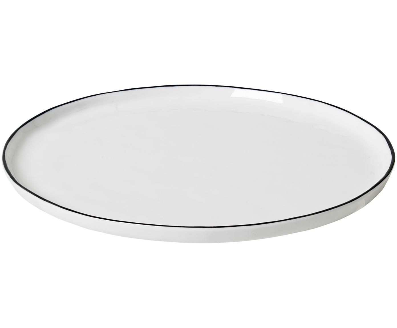 Handgemachte Speiseteller Salt, 4 Stück, Porzellan, Gebrochenes Weiss, Schwarz, Ø 28 cm