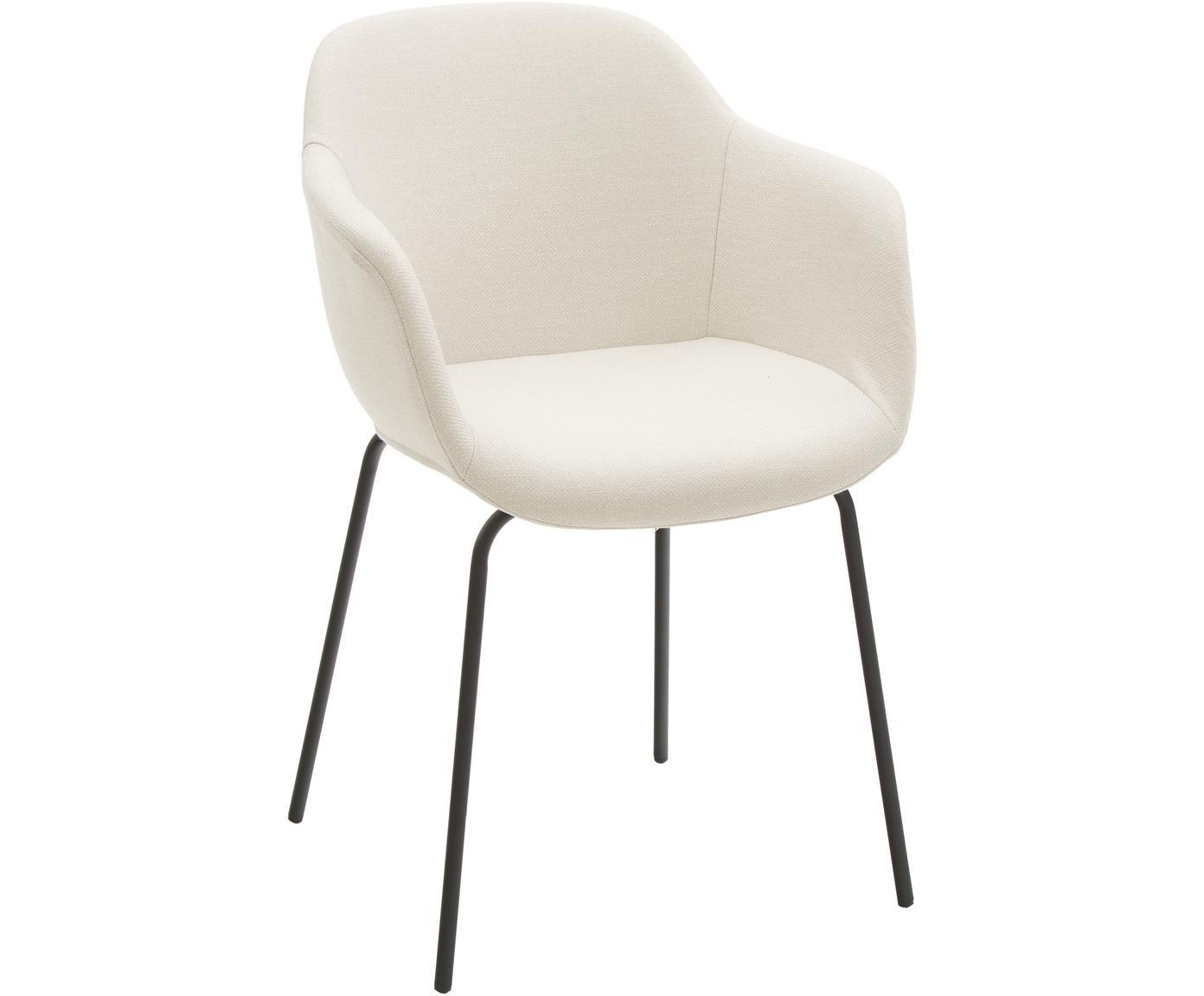 Krzesło z podłokietnikami Fiji, Tapicerka: poliester 40 000 cykli w , Nogi: metal malowany proszkowo, Siedzisko: kremowobiały nogi: czarny, matowy, S 58 x G 56 cm