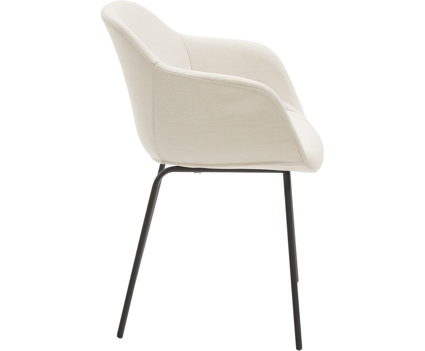 Armlehnstuhl Fiji mit Metallbeinen, Bezug: Polyester 40.000 scheuert, Beine: Metall, pulverbeschichtet, Sitzschale: Cremeweiß Beine: Schwarz, matt, B 58 x T 56 cm