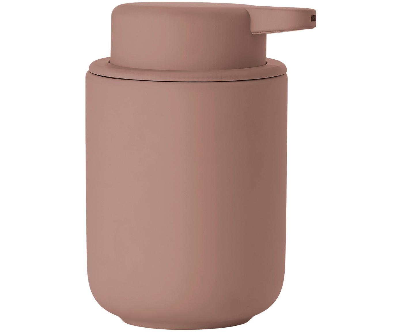 Dosificador de jabón Ume, Recipiente: gres revestido con superf, Dosificador: plástico, Rosa palo, mate, Ø 8 x Al 13 cm