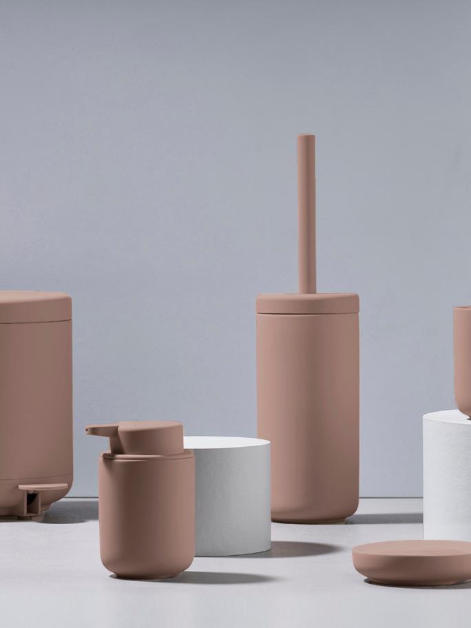 Dispenser sapone in terracotta Ume, Contenitore: terracotta rivestita con , Rosa cipria opaco, Ø 8 x Alt. 13 cm