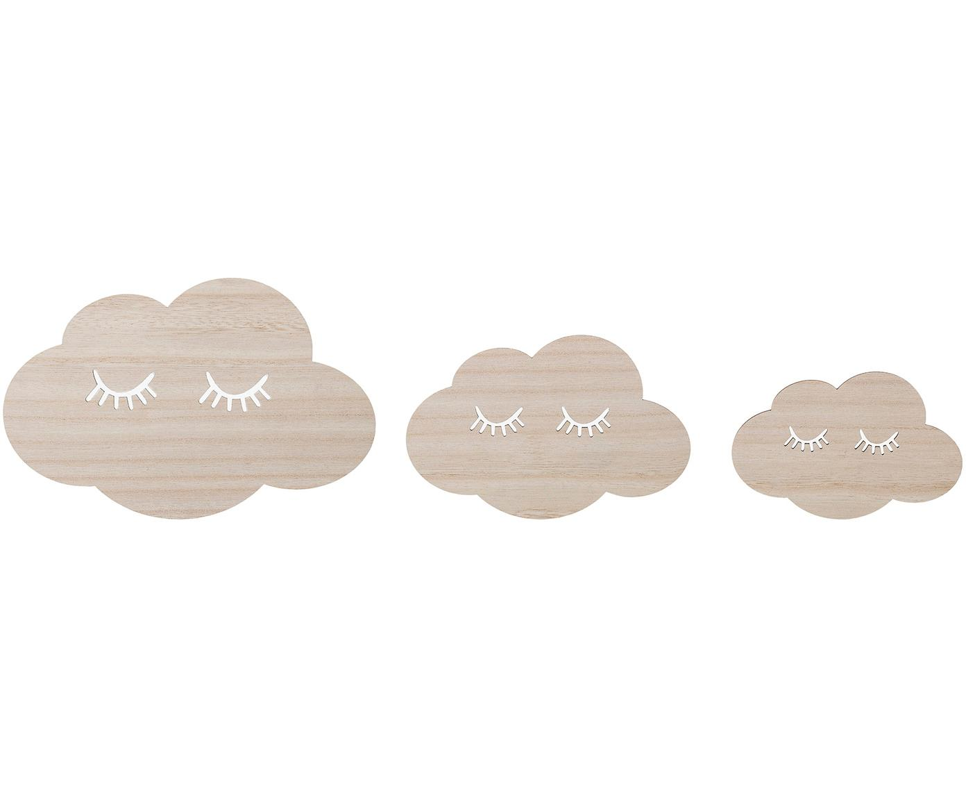 Set de decoraciones de pared Clouds, 3 pzas., Madera, Marrón, An 21 x Al 14 cm