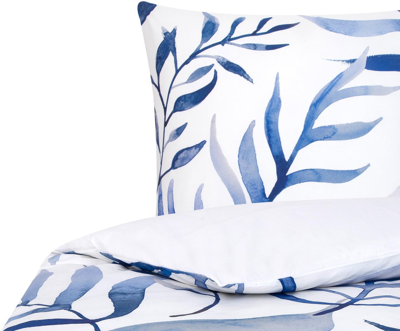 Dwustronna pościel z perkalu Francine, Przód: niebieski, biały Tył: biały, 135 x 200 cm