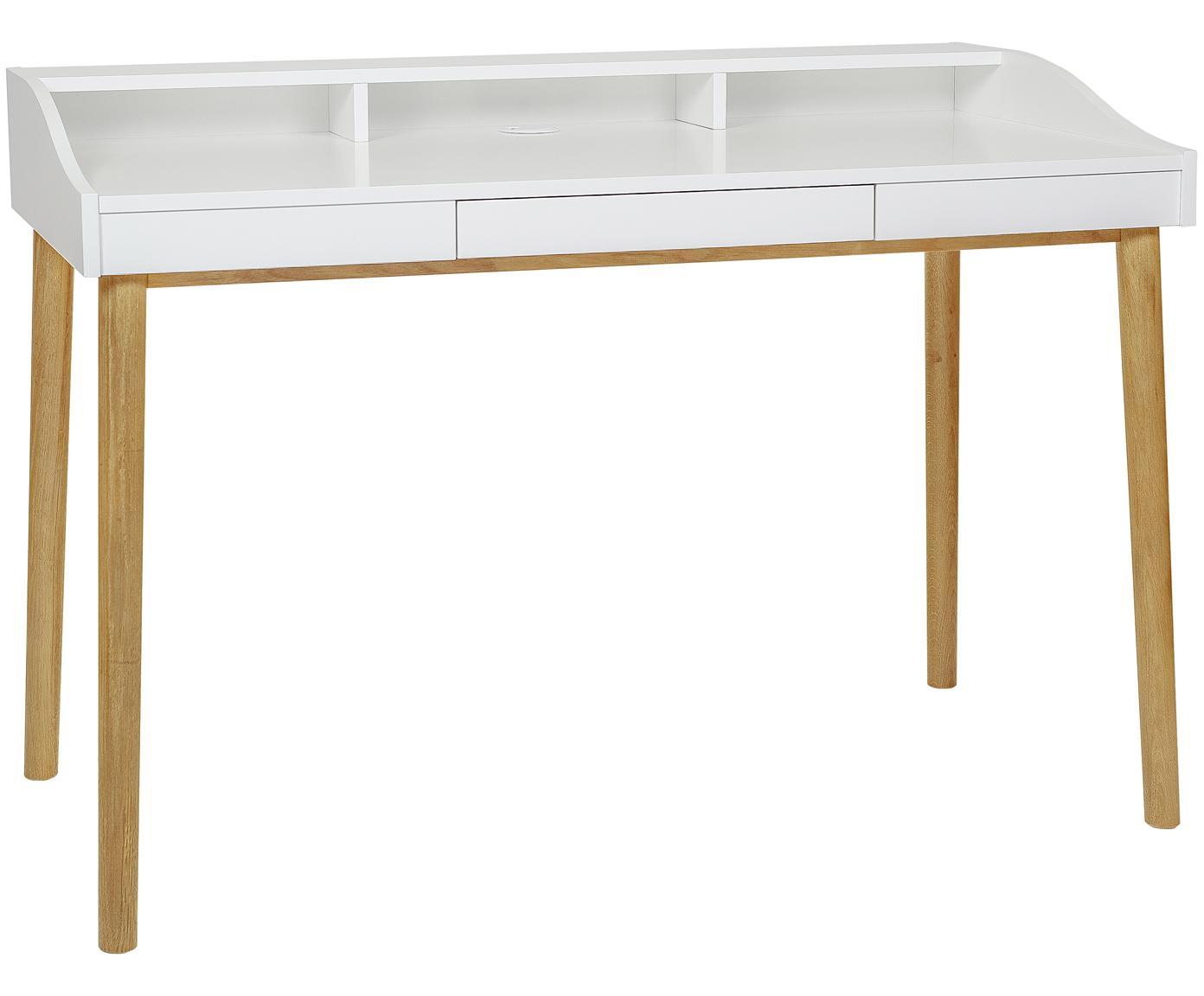 Schreibtisch Lindenhof mit kleiner Schublade, Beine: Eichenholz, lackiert, Tischplatte und Ablage: Weiss<br>Beine: Eiche, B 120 x T 60 cm
