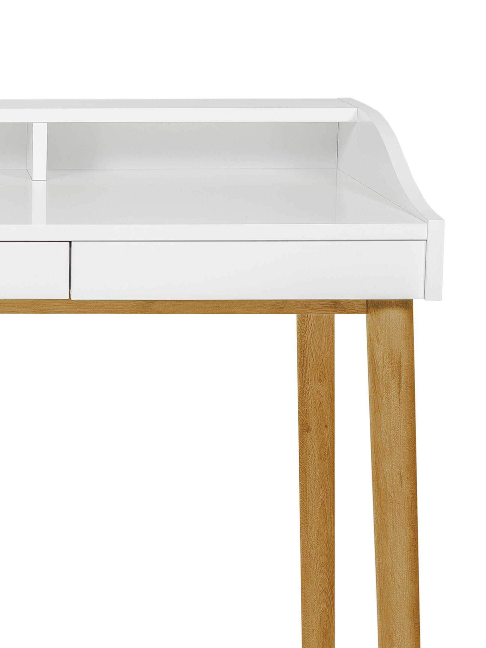 Scrittoio con cassetto Lindenhof, Gambe: legno di quercia vernicia, Piano d'appoggio e mensola: bianco<br>Gambe: legno di quercia, Larg. 120 x Alt. 84 cm