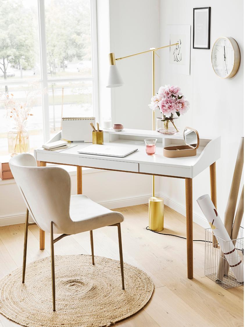 Schreibtisch Lindenhof mit kleiner Schublade, Beine: Eichenholz, lackiert, Tischplatte und Ablage: Weiß<br>Beine: Eiche, B 120 x T 60 cm