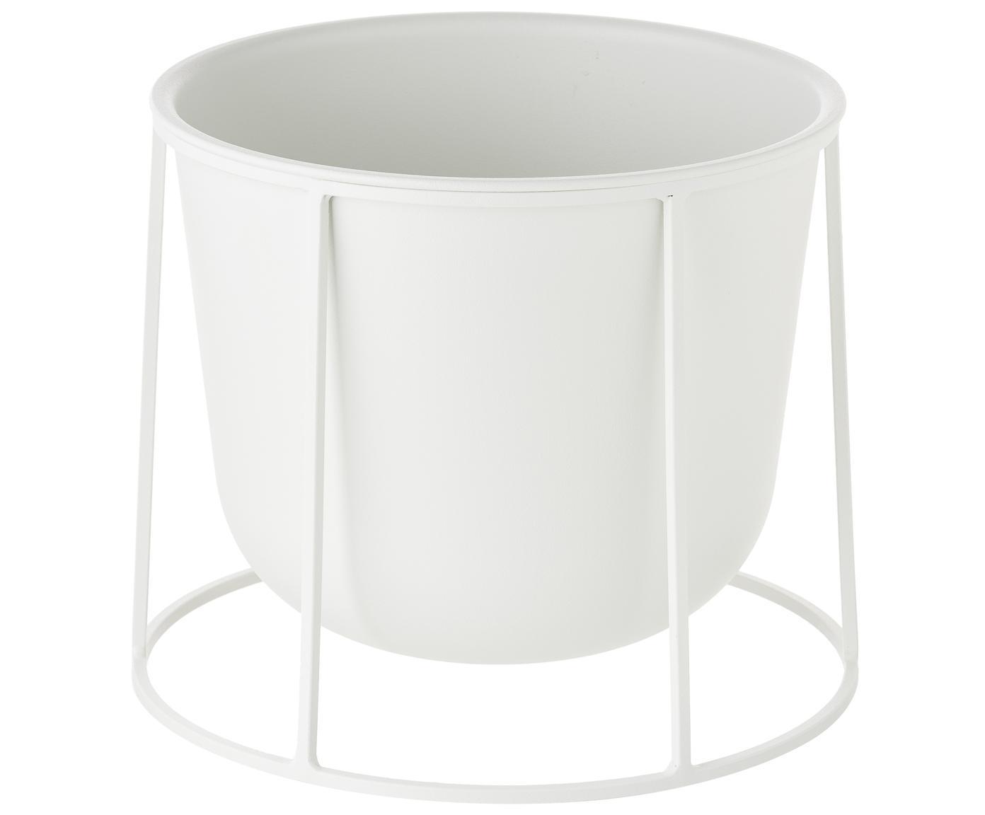 Osłonka na doniczkę Wire Pot, Stal malowana proszkowo, Biały, Ø 23 x 17 cm