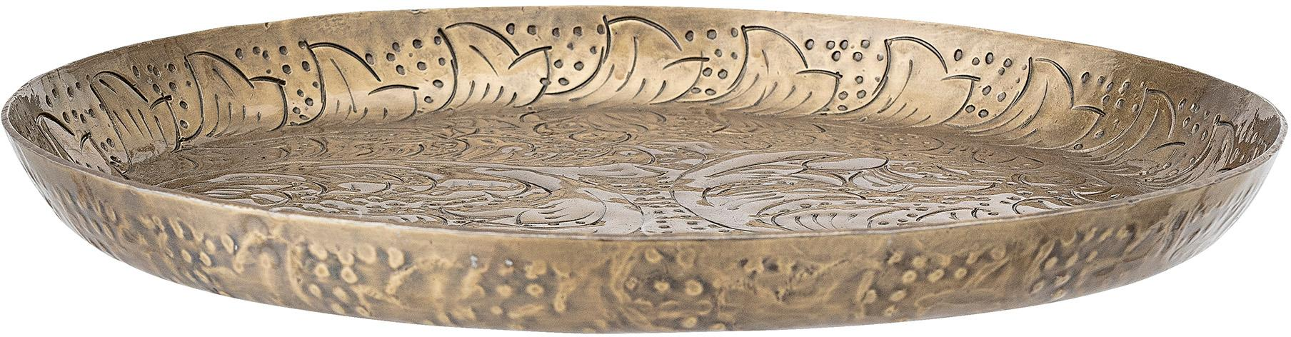 Vassoio decorativo Gardenia, Alluminio rivestito, Ottonato, Ø 32 x Alt. 3 cm