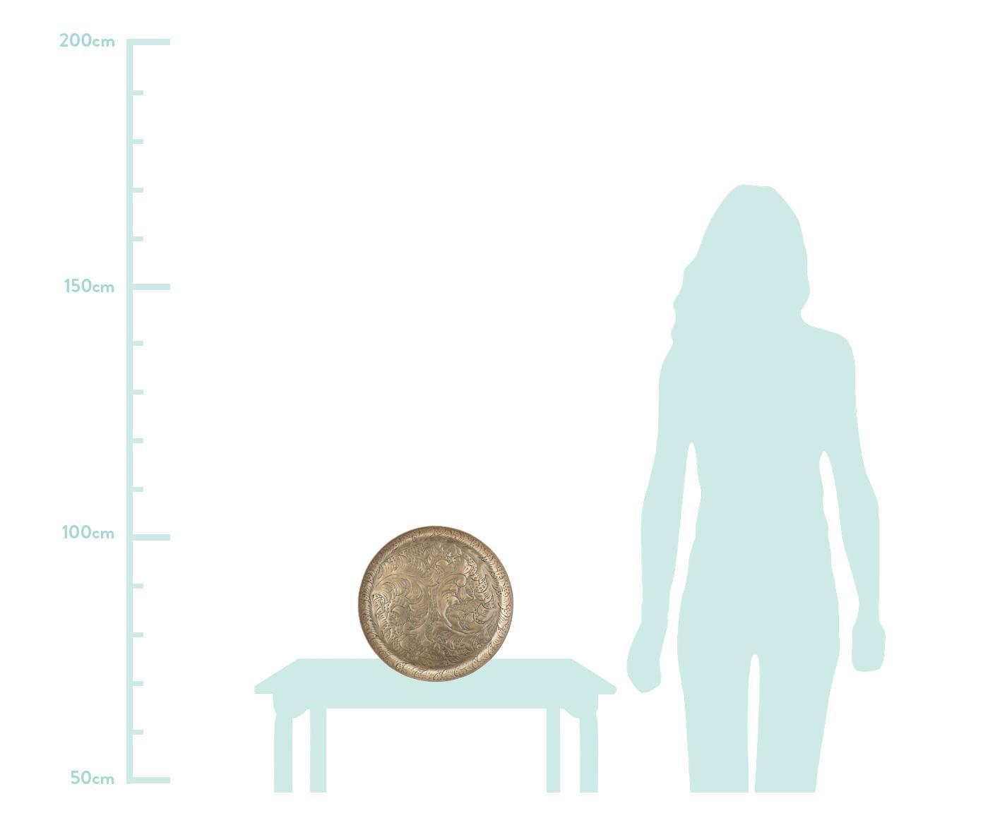 Deko-Tablett Gardenia, Aluminium, beschichtet, Messingfarben, Ø 32 x H 3 cm