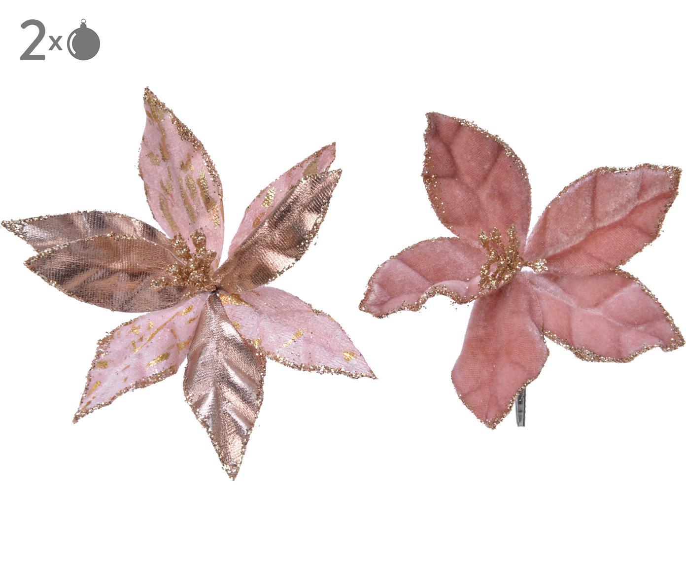 Baumanhänger-Set Blossom, 2-tlg., Kunststoff (PES), Rosatöne, Goldfarben, Ø 11 x H 2 cm
