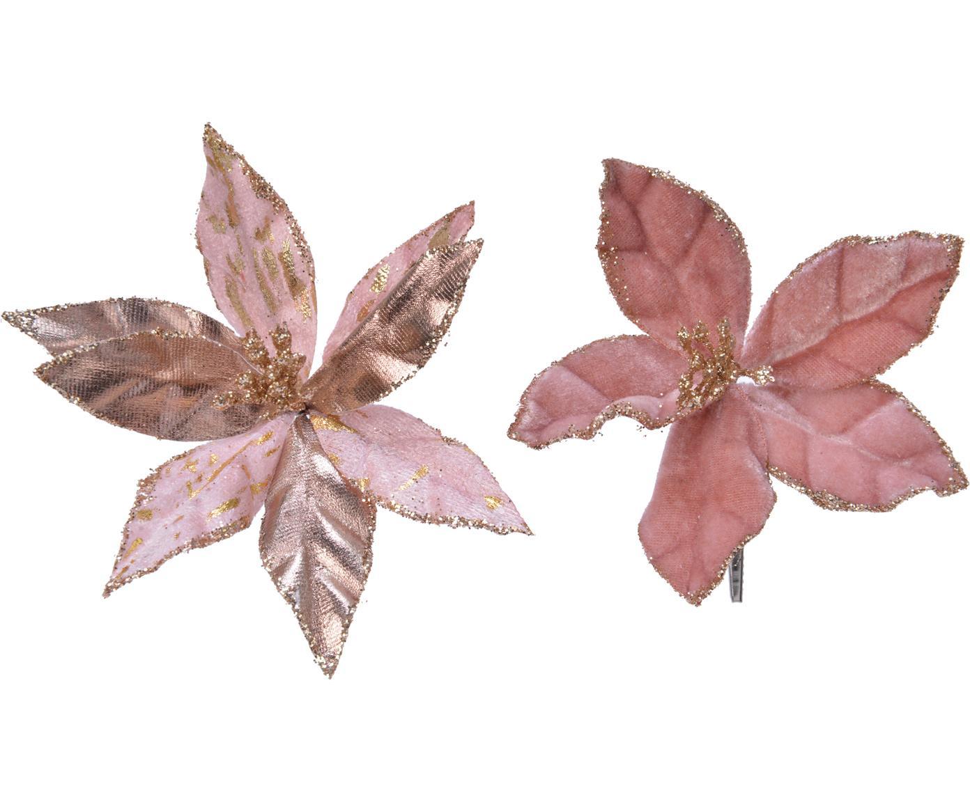 Kerstboomhangersset Blossom, 2-delig, Kunststof (PES), Rozetinten, goudkleurig, Ø 11 cm