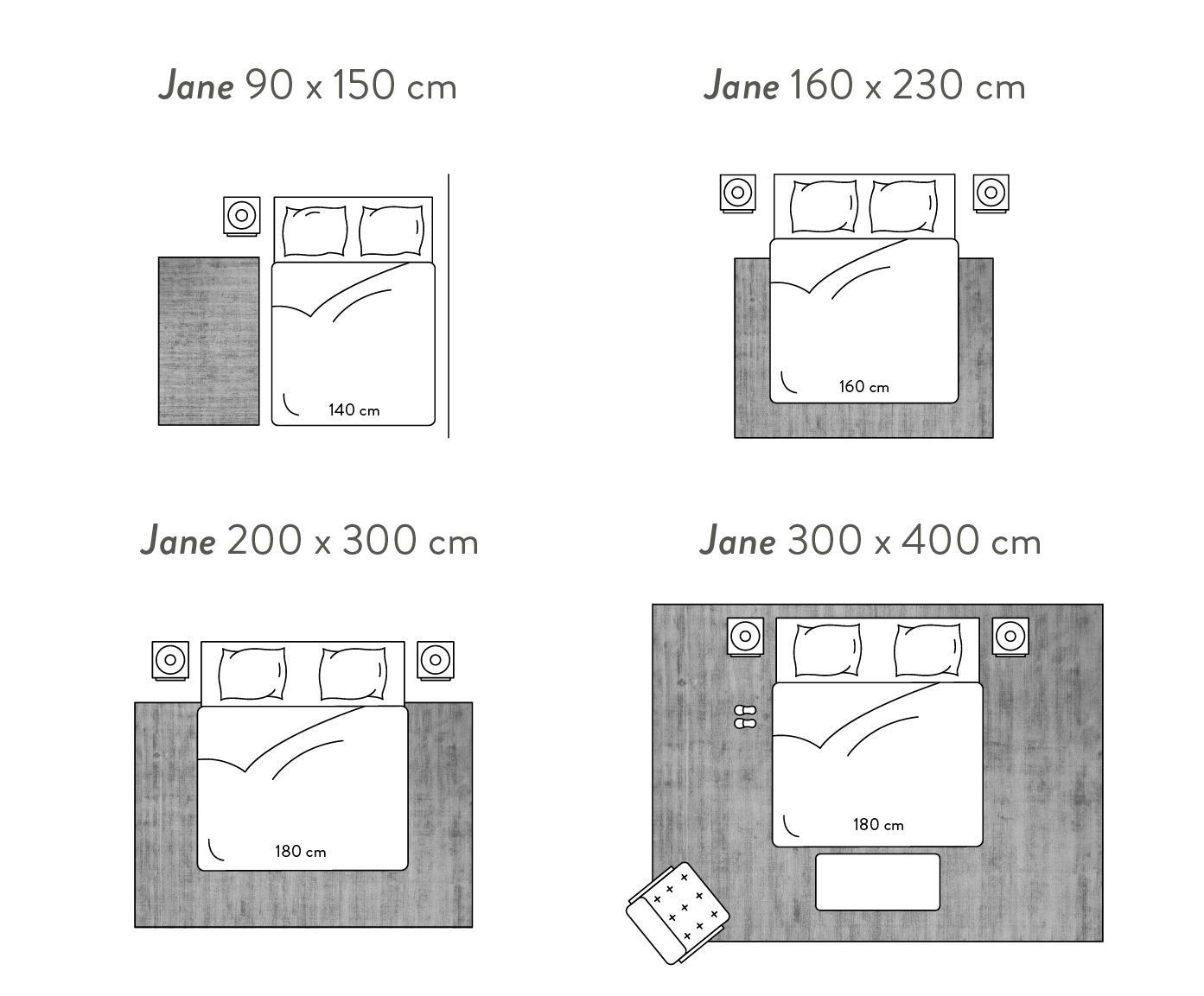 Handgeweven viscose vloerkleed Jane, Bovenzijde: 100% viscose, Onderzijde: 100% katoen, Grijs, B 300 x L 400 cm (maat XL)