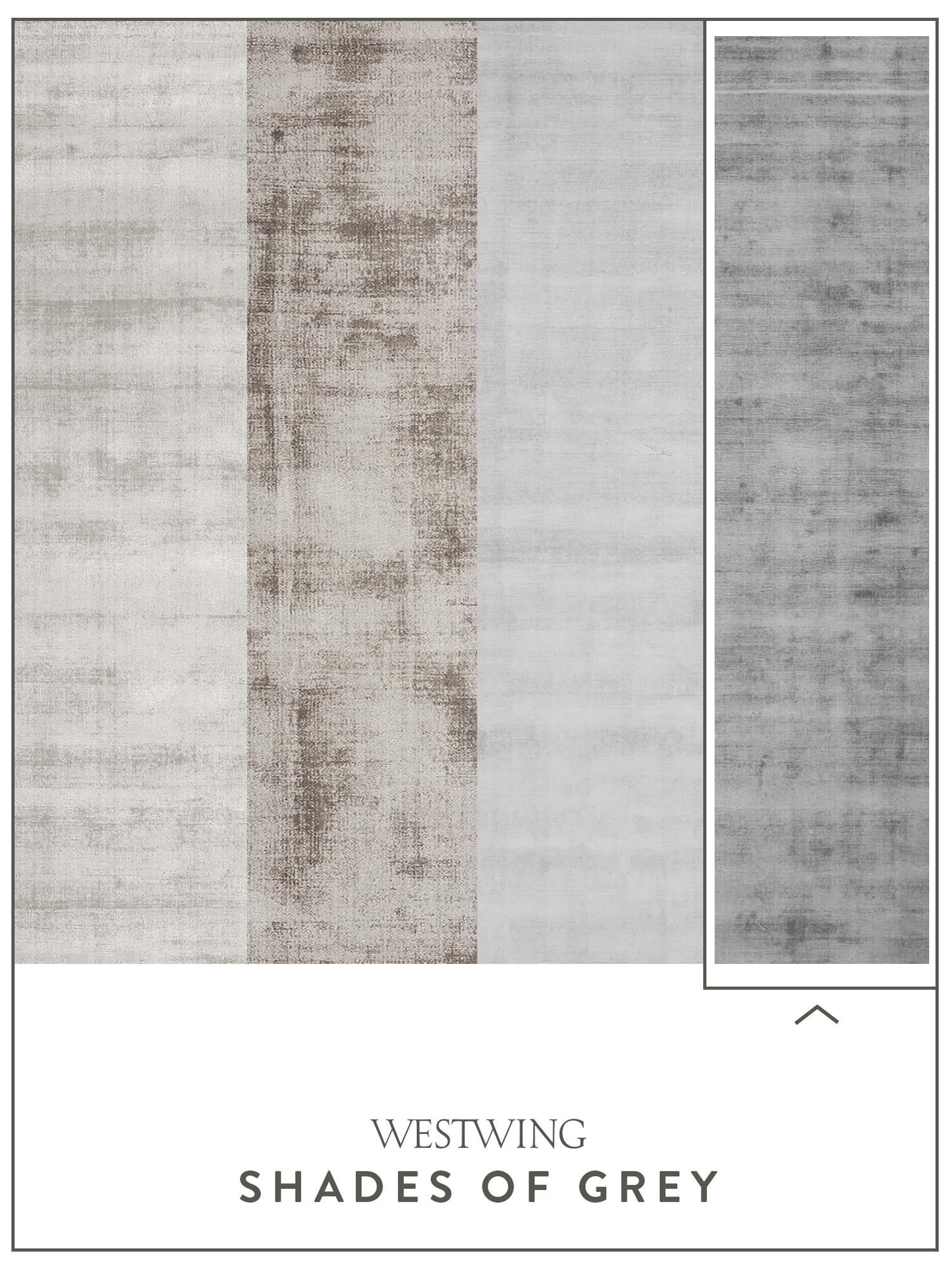 Handgewebter Viskoseteppich Jane in Grau, Flor: 100% Viskose, Grau, B 300 x L 400 cm (Grösse XL)