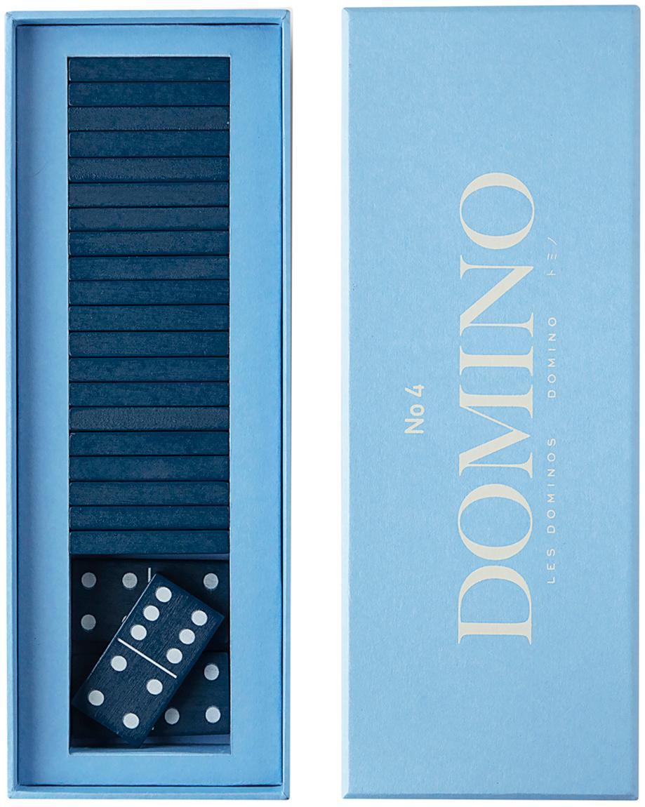 Domino-set Classic, 30-delig, Papier, hout, Blauw, 24 x 5 cm