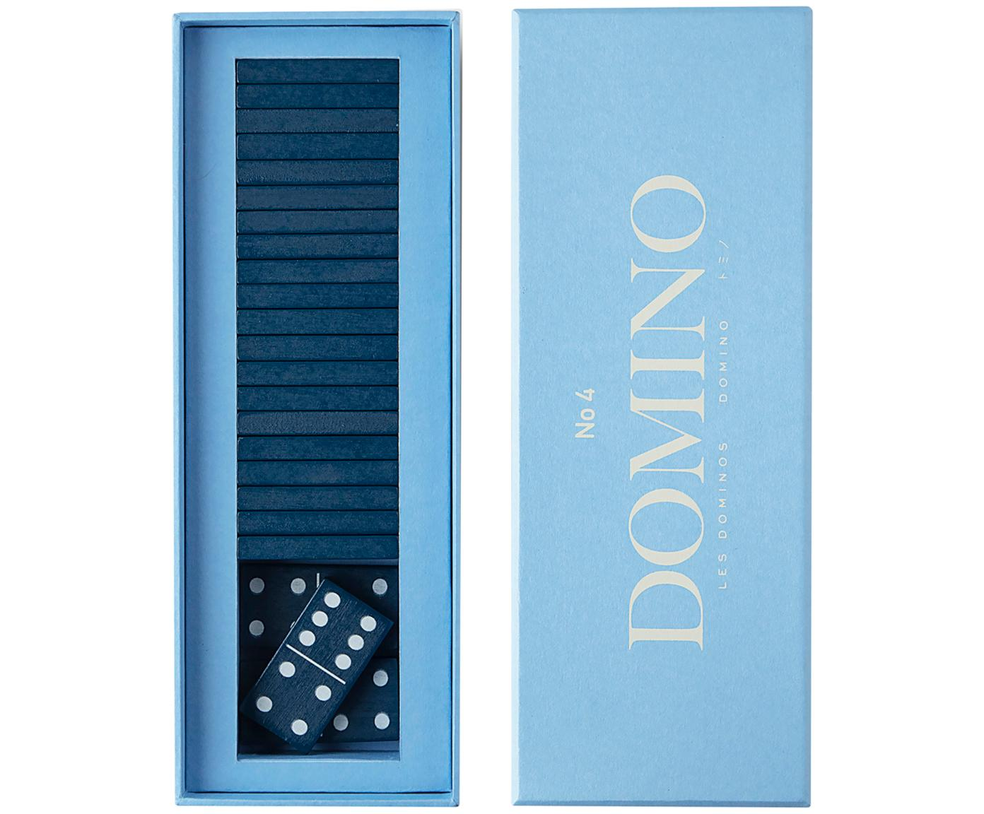 Domino-Set Classic, 30-tlg., Papier, Holz, Blau, 24 x 5 cm