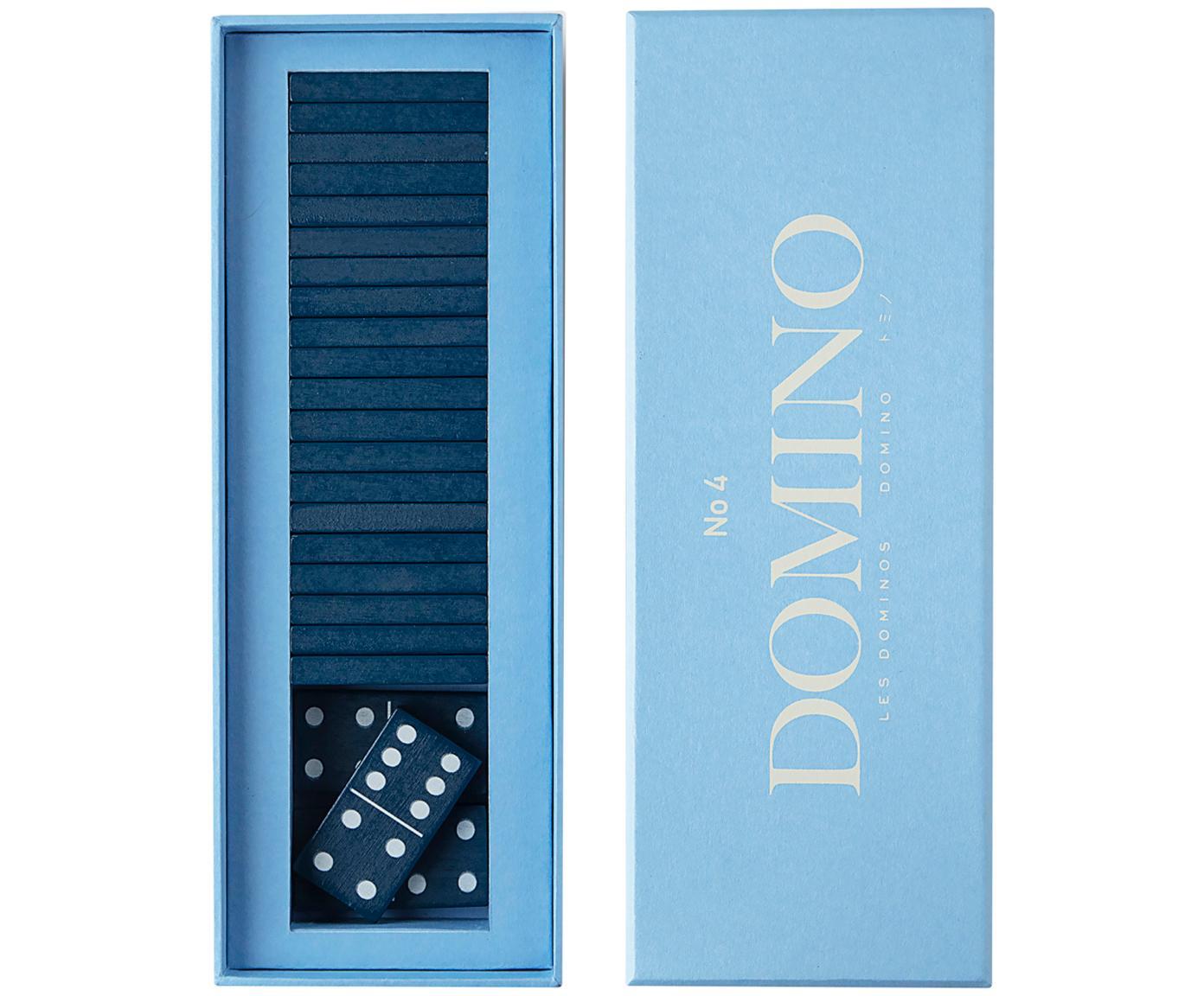 Komplet domino Classic, 30 elem., Papier, drewno naturalne, Niebieski, S 24 x W 5 cm