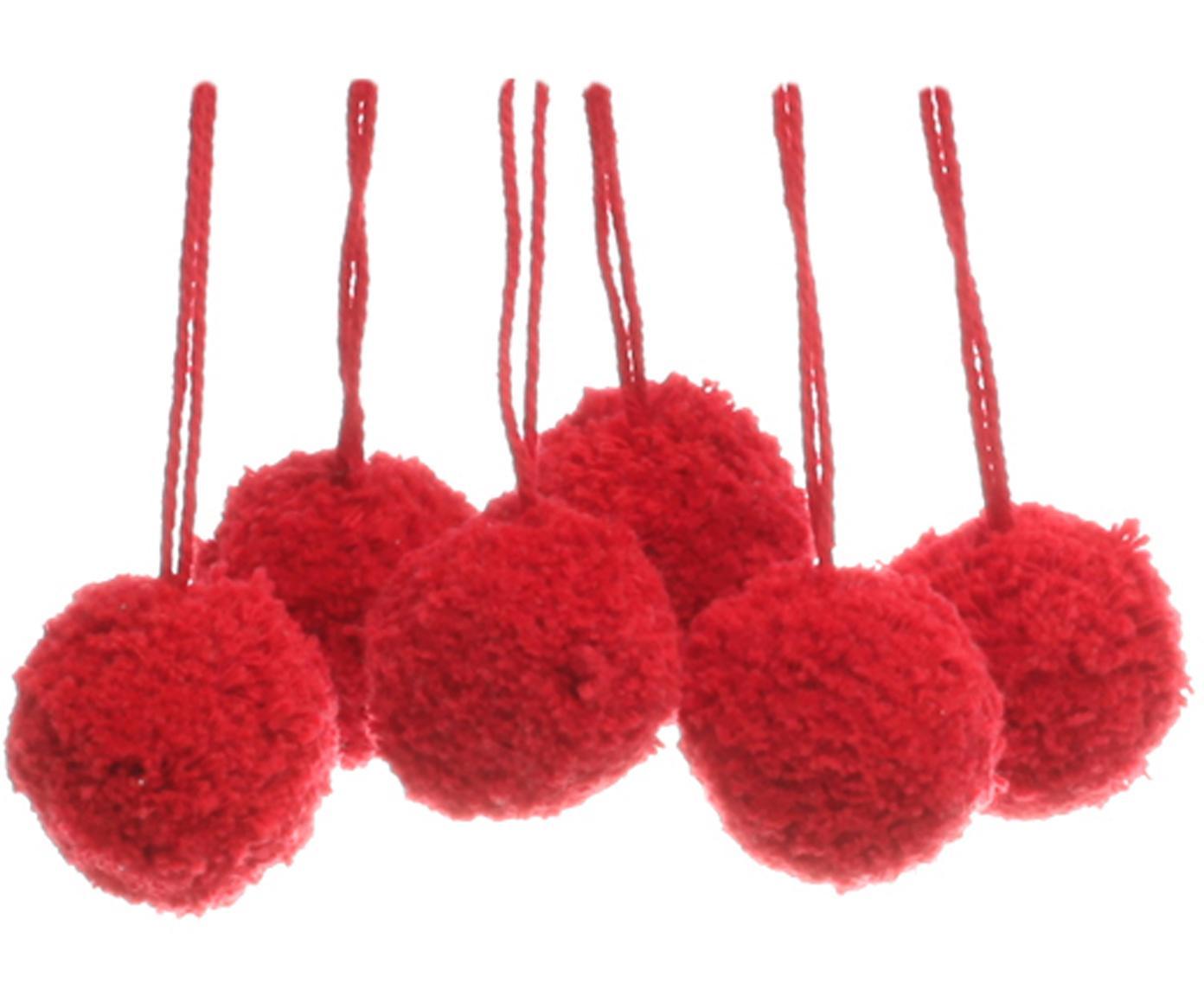 Pompon Lily, 6 pz., Cotone, Rosso, Ø 4 x Alt. 14 cm