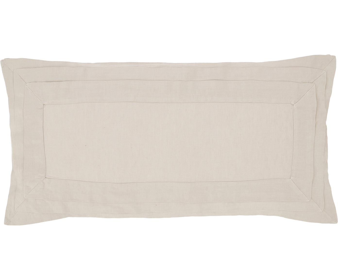 Gewaschene Leinen-Kissenbezüge Helena in Beige mit Stehsaum, 2 Stück, Halbleinen (52% Leinen, 48% Baumwolle)  Fadendichte 136 TC, Standard Qualität  Halbleinen hat von Natur aus einen kernigen Griff und einen natürlichen Knitterlook, der durch den Stonewash-Effekt verstärkt wird. Es absorbiert bis zu 35% Luftfeuchtigkeit, trocknet sehr schnell und wirkt in Sommernächten angenehm kühlend. Die hohe Reißfestigkeit macht Halbleinen scheuerfest und strapazierfähig., Beige, 40 x 80 cm