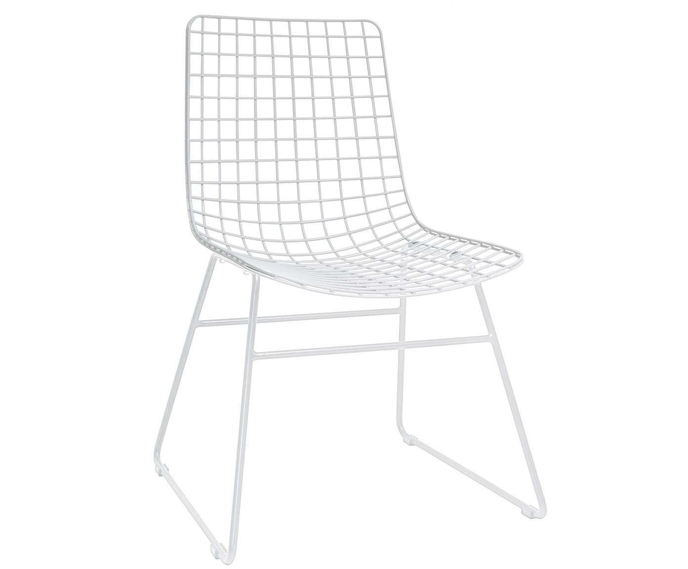 Stoel Wire, Gepoedercoat metaal, Wit, B 47 x D 54 cm