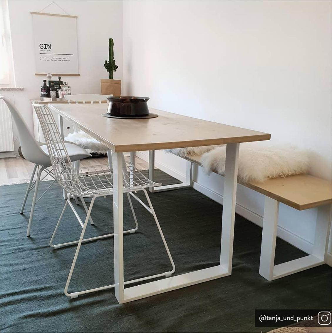 Metall-Stuhl Wire in Weiß, Metall, pulverbeschichtet, Weiß, 47 x 54 cm