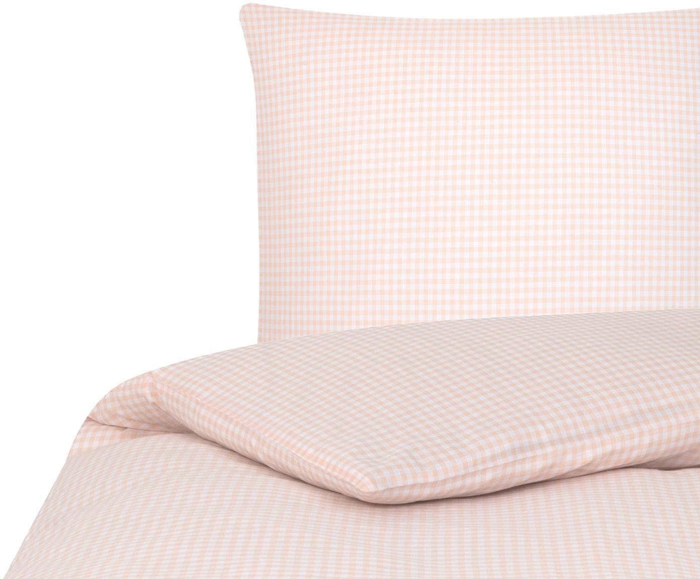 Karierte Baumwoll-Bettwäsche Scotty in Apricot/Weiß, 100% Baumwolle  Fadendichte 118 TC, Standard Qualität  Bettwäsche aus Baumwolle fühlt sich auf der Haut angenehm weich an, nimmt Feuchtigkeit gut auf und eignet sich für Allergiker, Apricot/Weiß, 135 x 200 cm + 1 Kissen 80 x 80 cm