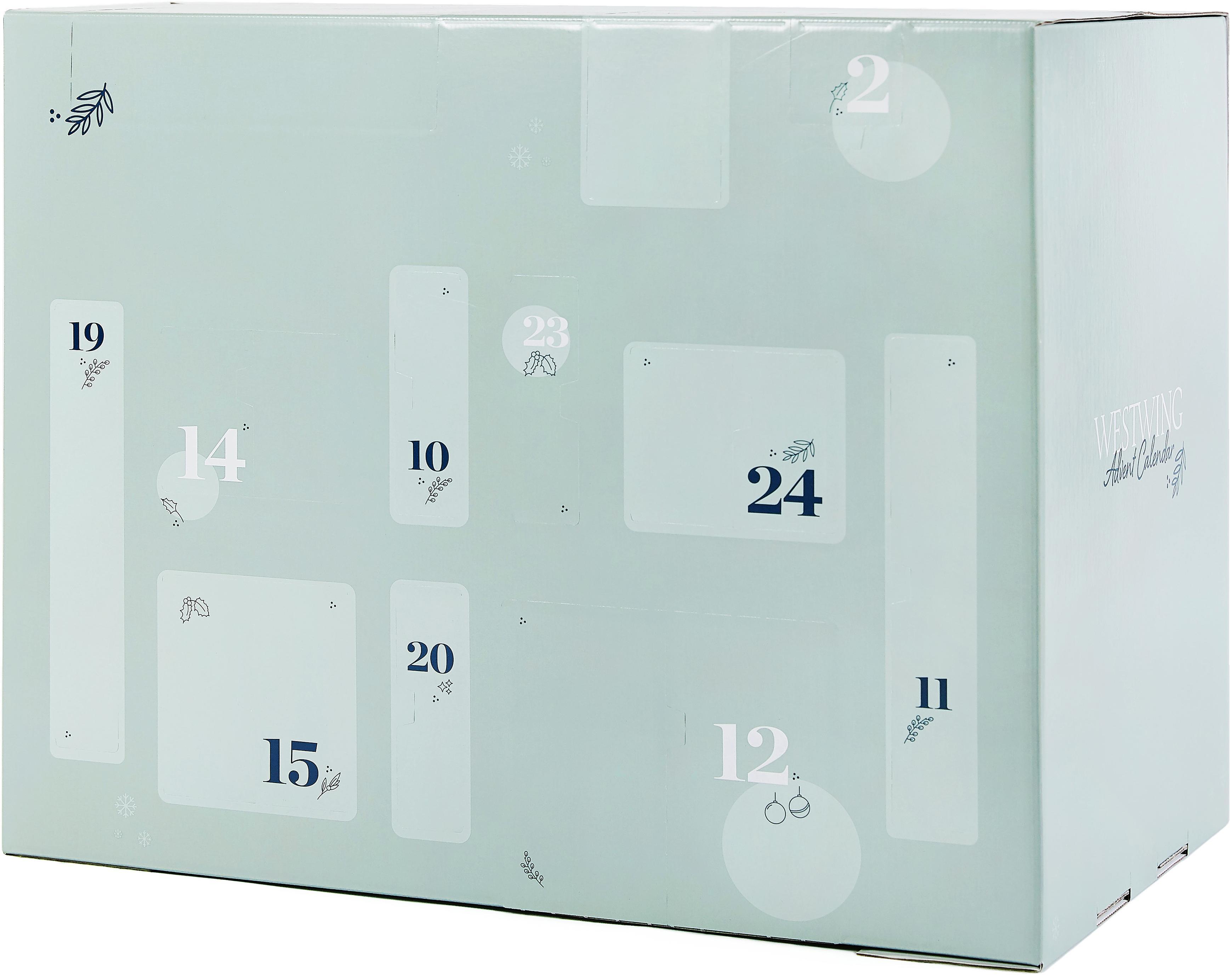 Calendario de Adviento Westwing, Caja: papel, Turquesa, An 57 x Al 47 cm