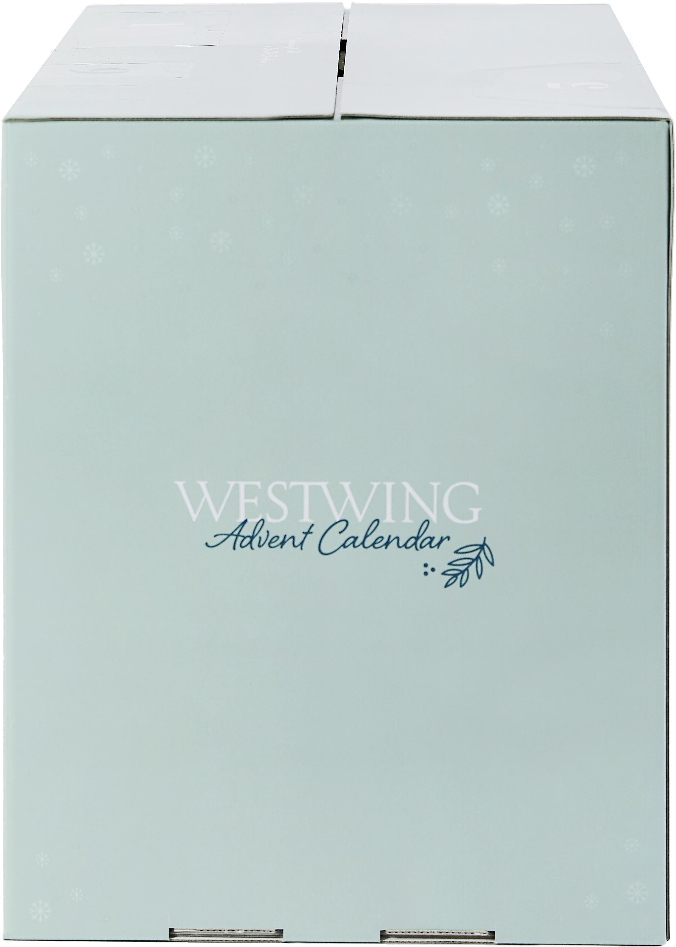 Westwing Adventskalender, Doos: papier, Turquoise, 57 x 47 cm