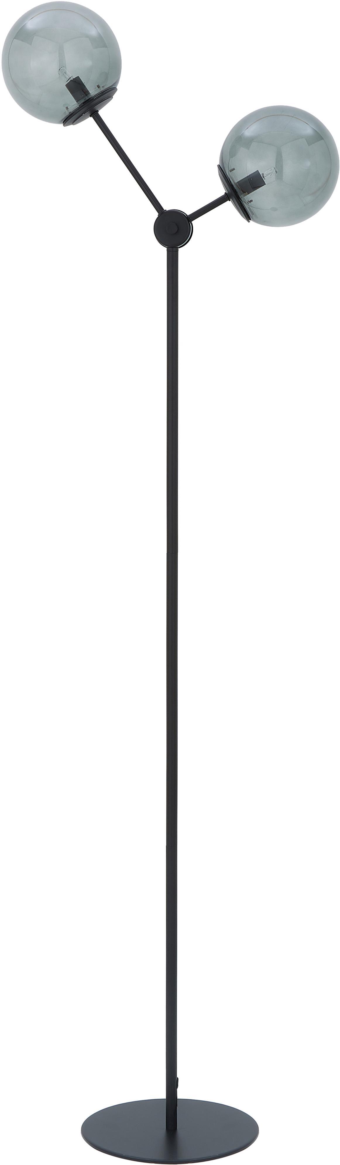 Lampada da terra in nero Aurelia, Paralume: vetro, Base della lampada: metallo verniciato a polv, Nero, grigio, Ø 25 x Alt. 155 cm