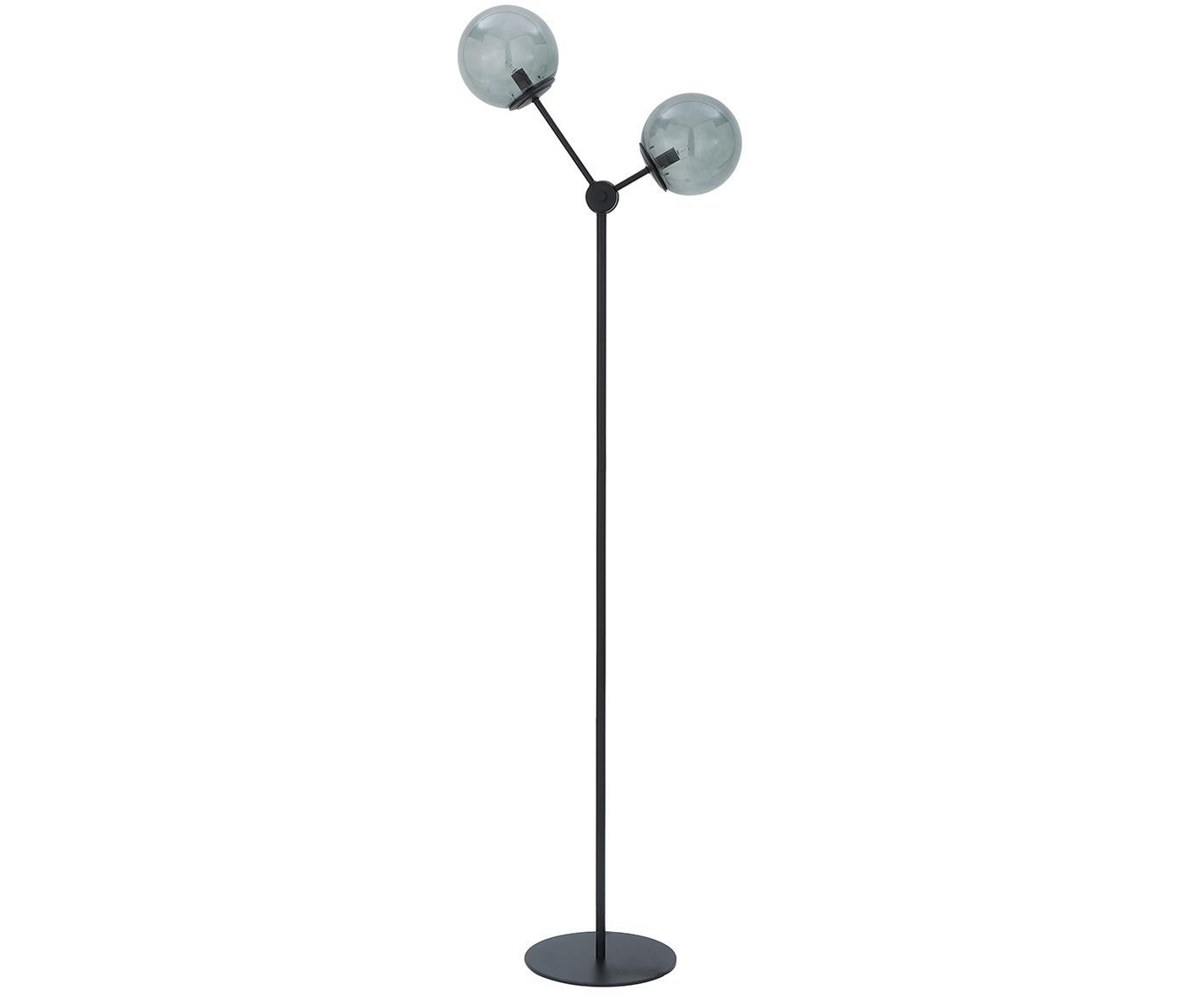 Vloerlamp Aurelia in zwart, Lampvoet: gepoedercoat metaal, Zwart, grijs, Ø 25 x H 155 cm