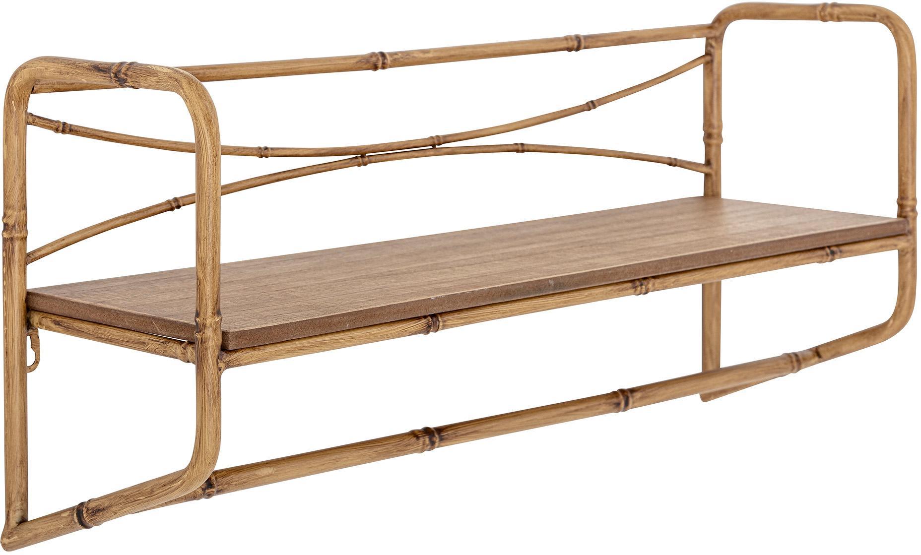 Estante de pared de bambú Rod, Estructura: cañamo, Estante: tablero de fibras de dens, Marrón, An 63 x Al 28 cm