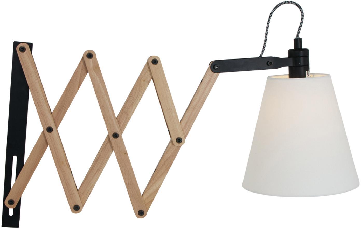 Verstelbare wandlamp Dion met stekker, Lampenkap: katoen (chintz), Lichtbruin, zwart, wit, B 10 x D 80 cm