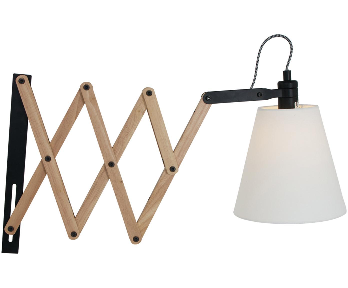 Verstelbare wandlamp Dion met stekker, Hout, gelakt metaal, Lichtbruin, zwart, wit, B 10 x D 80 cm